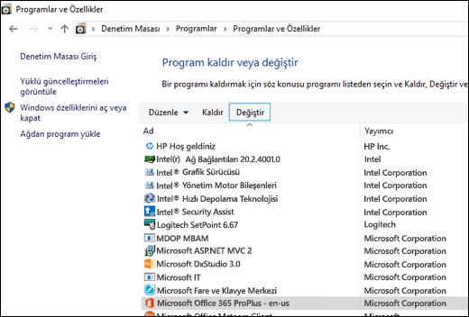 Microsoft Office'i onarma işlemini başlatmak için Program Kaldır uygulamasında Değiştir'e tıklayın