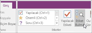 OneNote 2016'da Etiket Bul düğmesinin ekran görüntüsü