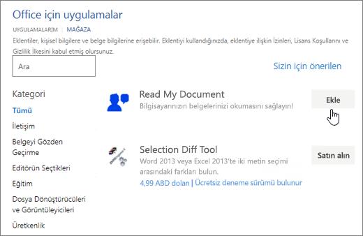 Uygulamaları Office sayfasında seçebileceğiniz deposunda veya Word uygulaması için arama ekran görüntüsü