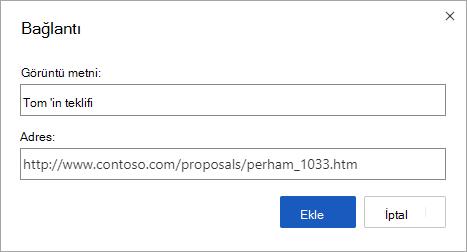 Web adresleri için köprü ekleme