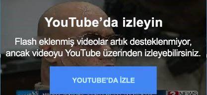 Bu YouTube hata iletisinde, flash eklenmiş videoların artık desteklenmediği açıklanır