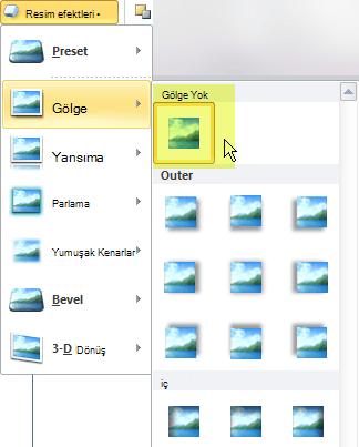 Hayır efekti seçeneği seçerek istemediğiniz bir resim efekti kapatın.