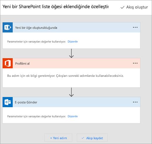 Microsoft Flow sitede akışını bağlanmak için yönergeleri izleyin
