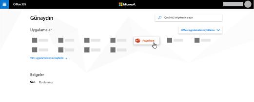 PowerPoint uygulamasının vurgulandığı Office 365 giriş sayfası