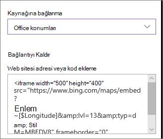 Konumları göstermek için ekleme kodu örneği