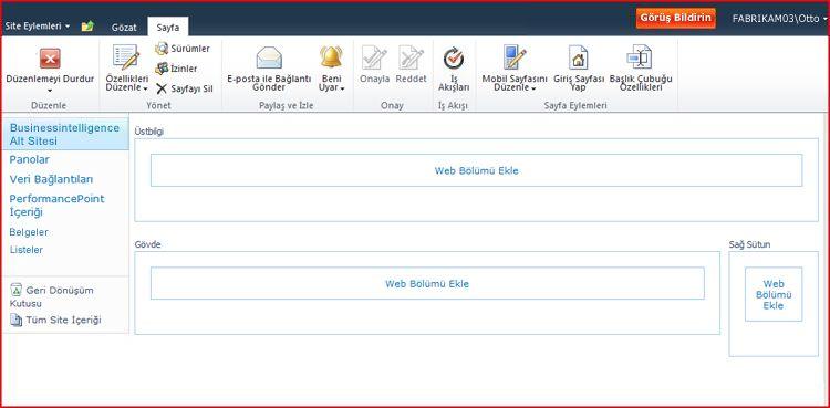 Web Bölümü sayfasında Web Bölümlerini eklemek için bölgeler vardır