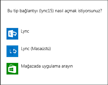 Program seçme Lync bildiriminin ekran görüntüsü