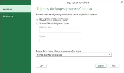 Power Query SQL Server bağlantısı oturum açma kimlik bilgileri