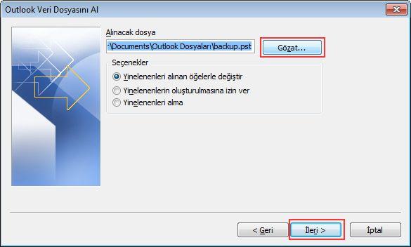 Outlook Veri Dosyasını Aç iletişim kutusunu görüntülemek için Gözat'a tıklayın.