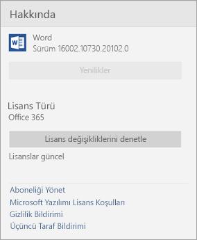 Word Mobile penceresi hakkında