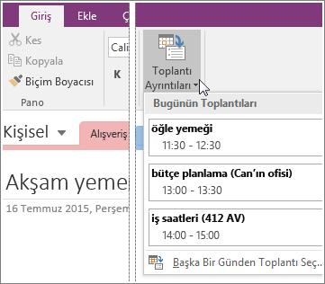 OneNote 2016'da Toplantı Ayrıntıları düğmesinin ekran görüntüsü.