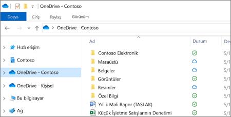 Dosya Gezgini'nde OneDrive İş dosyalarının ekran görüntüsü