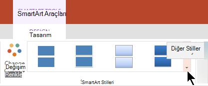 SmartArt Araçları galerisinde, SmartArt Stilleri galerisini açmak için diğer stiller okunu seçin