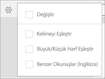 Bul Değiştir, sözcükleri eşleştir, büyük/küçük harf eşleştir ve buna benzer seçenekleri Android için Word'de gösterir.