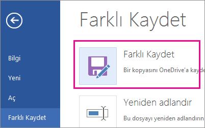 Bir kopyayı OneDrive'a kaydedin