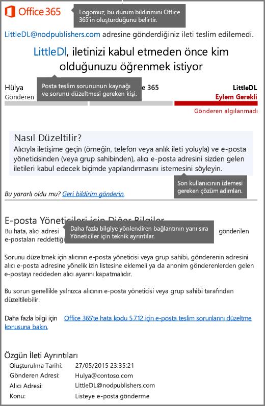Office 365'teki en yeni teslim durumu bildirimi (DSN)