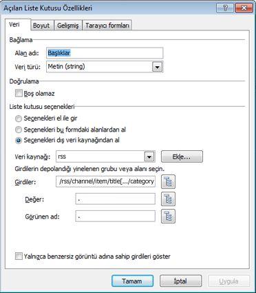 Bir denetimde görüntülenen verilere filtre uygulama