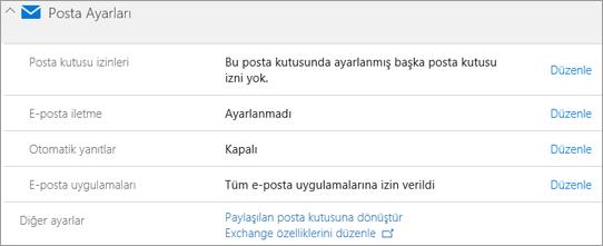 Ekran görüntüsü: Office 365 posta ayarları
