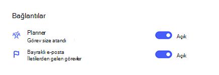 Planner ve Işaretlenen e-posta seçeneklerinin açık olduğu ayarlar 'daki bağlantıların ekran görüntüsü