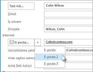 Kişi için başka bir e-posta adresi ekleme