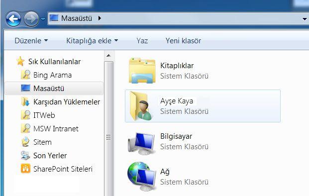 Windows 7'deki Masaüstü klasörü