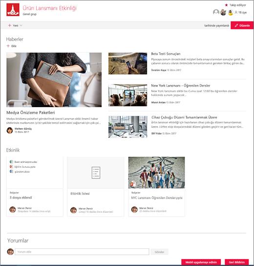 SharePoint ekip sitesi giriş sayfası