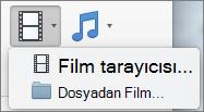 Ekran Movie tarayıcıyı ve film Video açılan denetimden kullanılabilir dosya seçenekler arasından gösterilir. PowerPoint sununuza film eklemek için bir seçenek belirleyin.