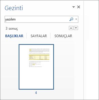 Arama sonuçlarını gösterecek şekilde filtrelenen sayfalar