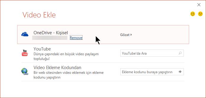 Video Ekle iletişim kutusunda YouTube, Facebook ve OneDrive için seçenekler vardır.