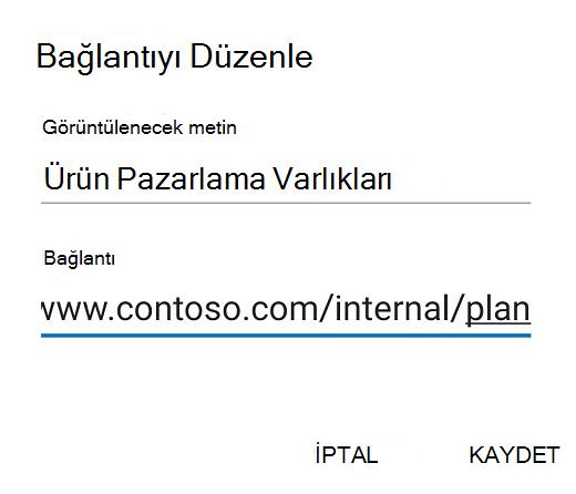Android için Outlook bağlantı Düzenle iletişim kutusu.