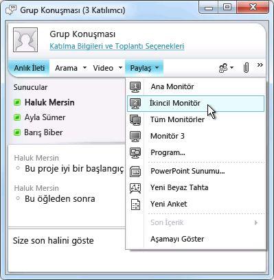 Ekran paylaşımı seçenekleriyle Microsoft Lync penceresi