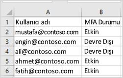toplu güncelleştirme CSV örnek dosyası