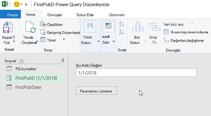 Parametre görüntüleyen Power Query Düzenleyicisi