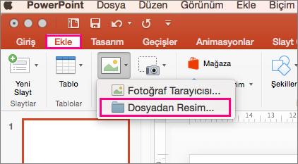 Mac için PowerPoint 2016'daki Ekle > Resimler > Dosyadan resim komutunu gösterir