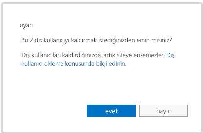 dış kullanıcının hesabını silmek üzere olduğunuzda görüntülenen uyarı iletisi