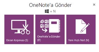 OneNote'a Gönder aracı
