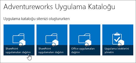 SharePoint için Uygulamaları Dağıtım öğesinin vurgulandığı, Uygulama kataloğunuzla çalışmaya başlama kutucukları.