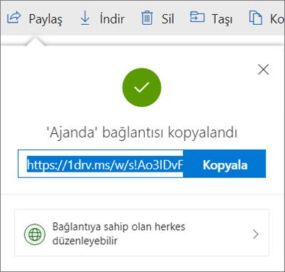 OneDrive'da dosyaları bağlantı yoluyla paylaşırken Bağlantı kopyalama onayı