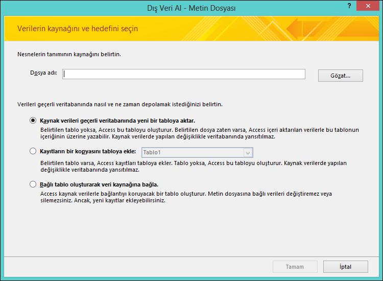 Metin dosyasını içeri aktarmayı, sona eklemeyi veya dosyaya bağlanmayı seçin.