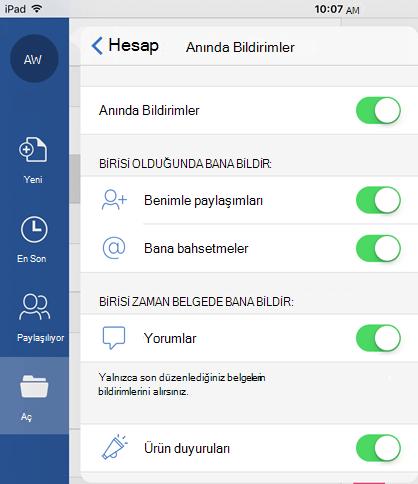 Paylaşılan belgelerin anında bildirimlerini yapılandırmak için profil düğmesine dokunun