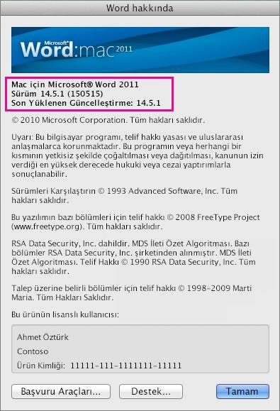 Word Hakkında sayfasını gösteren Mac için Word 2011