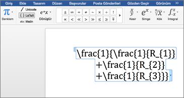 Bir LaTeX denklemi içeren Word belgesi