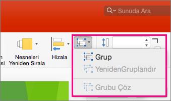 Mac için PowerPoint 2016'daki şeritte Grup simgesini gösterir