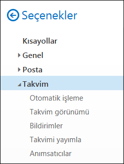 Web üzerinde Outlook takvim seçenekleri