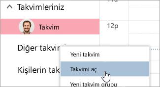 Takvim aç seçeneğinin ekran görüntüsü