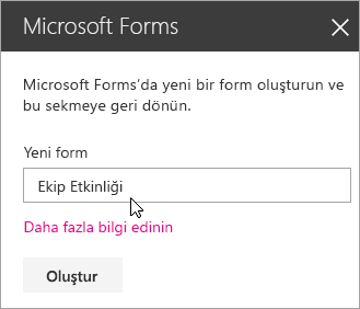 Yeni bir forma yönelik Microsoft Forms web bölümü paneli.