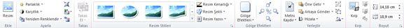 Publisher 2010'da Resim araçları sekmesi
