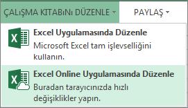 Çalışma Kitabını Düzenle menüsünde Excel Online'da Düzenle
