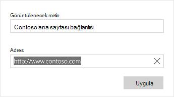 Word Mobile bağlantı metni iletişim kutusu