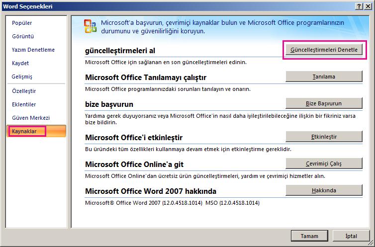 Word 2007'de Office güncelleştirmelerini denetleme